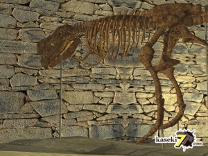 洞窟に浮き上がるティラノサウルス骨格(化石セブンオリジナルCG)
