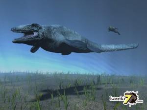 モササウルスと人間の比較(化石セブンオリジナルCG)