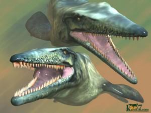 白亜紀の海のハンター、モササウルス