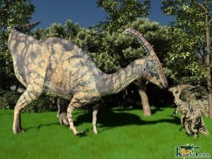 パラサウロロフスの親子(化石セブンオリジナルCG)