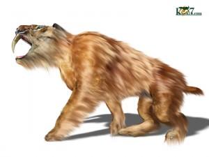 上顎犬歯が発達した、ネコ科の肉食獣サーベルタイガー