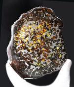 爛々と輝くかんらん石にご注目!厳選品!ハイクラス標本をお探し方に。2016年に発見された新しいパラサイト隕石、ケニヤ産パラサイト隕石(本体防錆処理済み)