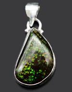 ドラゴンスキン!グリーンを呈するアンモライト(Ammolite)を使ったペンダントトップ。金具はスターリングシルバー。チェーン、革紐、ジュエリーケース付き