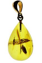 ライトアップで黄金色を呈する!バルト海産の虫入り琥珀(Amber)を使ったペンダントトップ(チェーン、高級ジュエリーケース付き。)