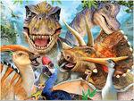 立体的!恐竜3Dジグソーパズル100ピース【恐竜たちのセルフィー】(本物化石1個つき、送料無料、ラッピング無料)