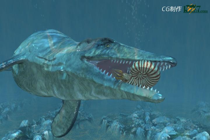 アンモナイトを捕食するモササウルス