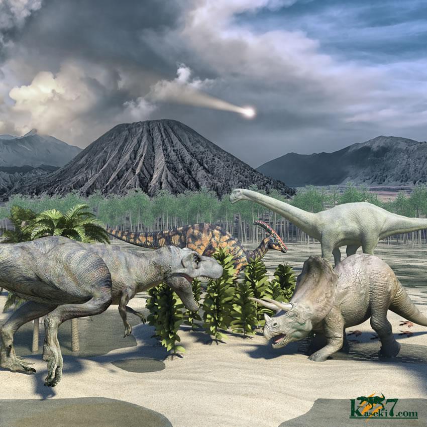恐竜の楽園に隕石が落下