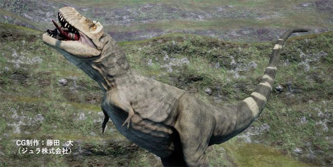 獲物を口に放り込むティラノサウルス・レックス