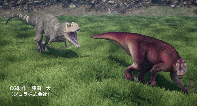 ハドロサウルスをおいかけるティラノサウルス