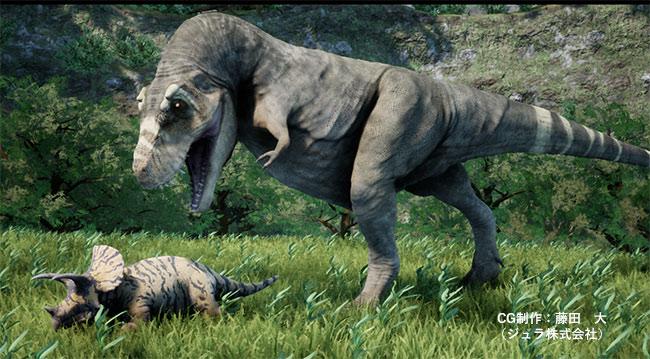 トリケラトプスの幼体を襲うティラノサウルス・レックス