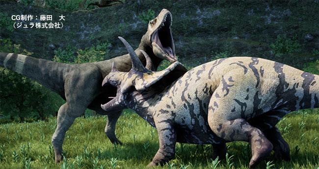 激しく競い合うティラノサウルス・レックスとトリケラトプス