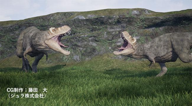 争うティラノサウルス