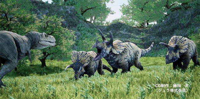 獰猛なトリケラトプスの成体の集団