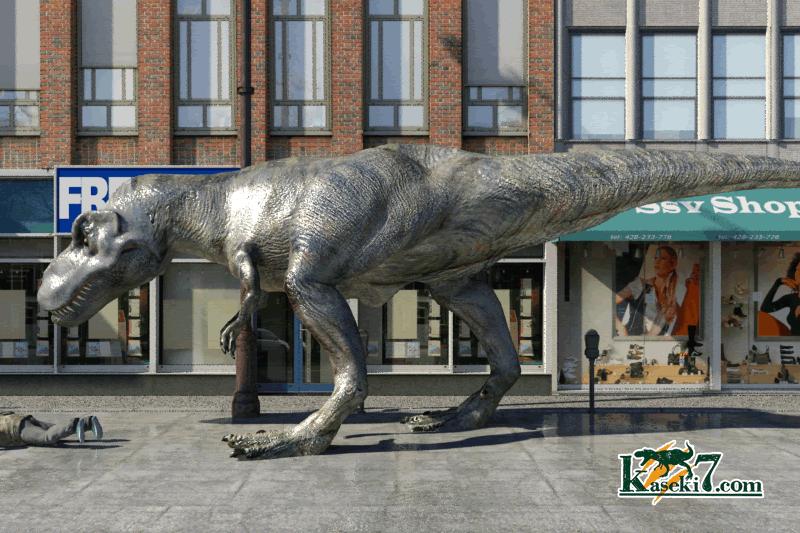 ティラノサウルスとビル