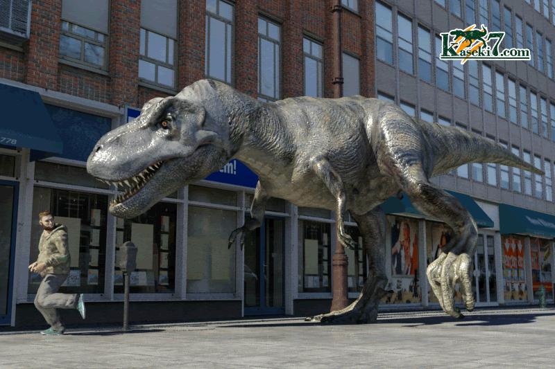 ティラノサウルスに追いかけられる人間