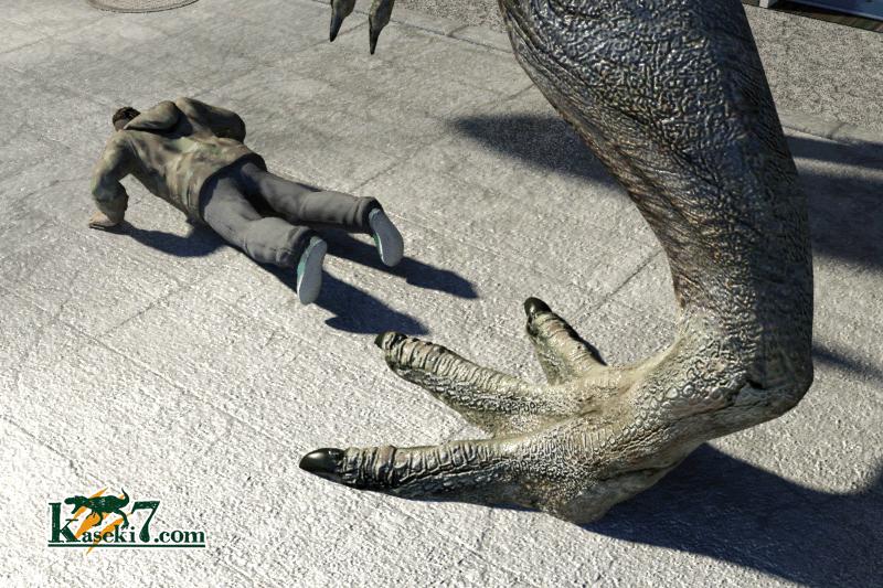 ティラノサウルスに踏まれそうな人間