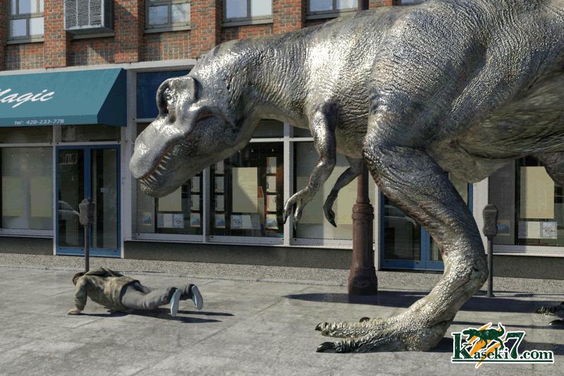 ティラノサウルスに襲われる人間